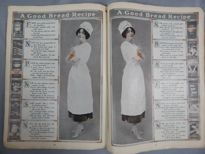 Antique Gold Medal Flour Cookbook, World War 1 Era Great