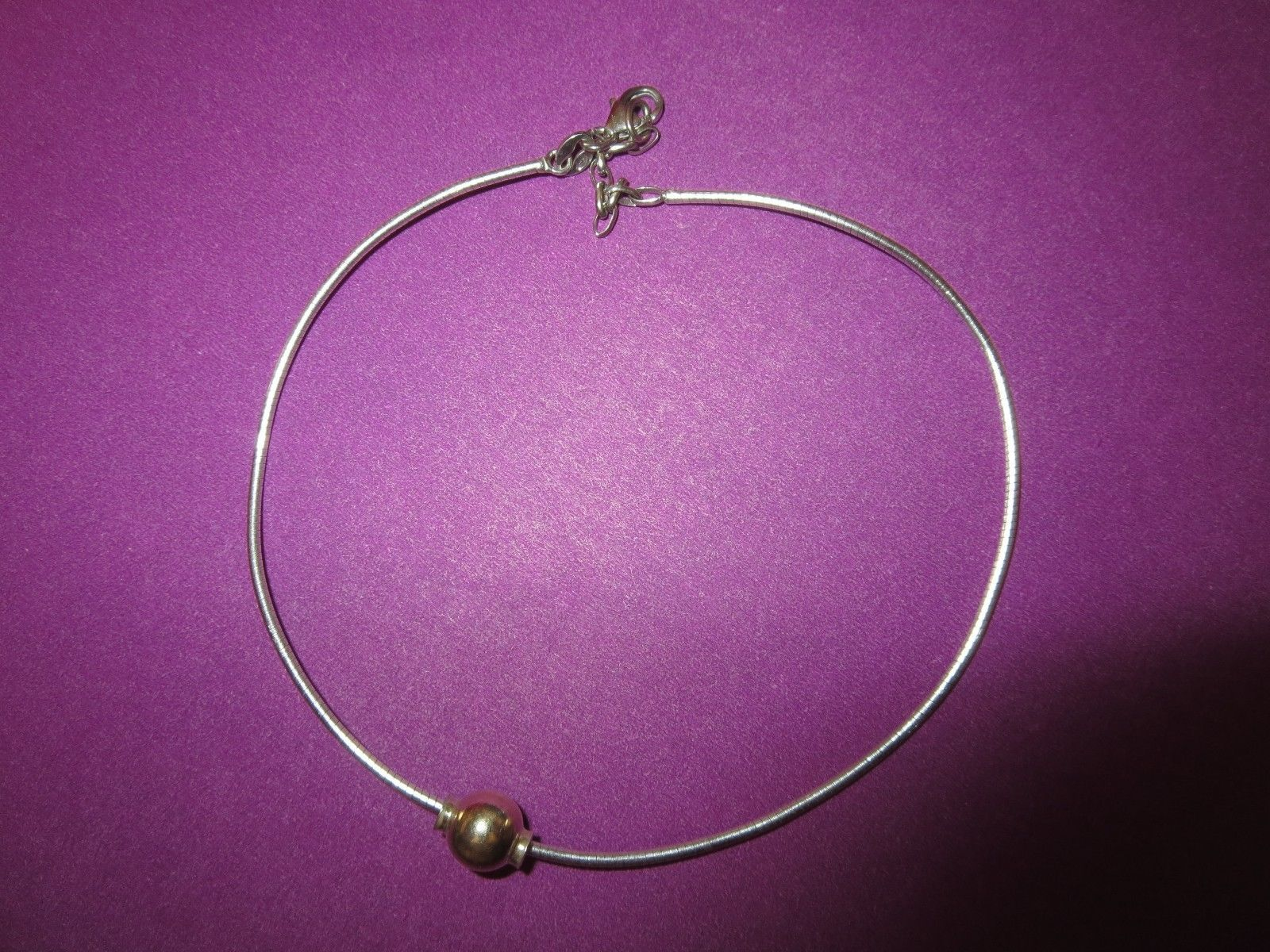Cape cod sterling silver and k gold ankle snake chain bracelet