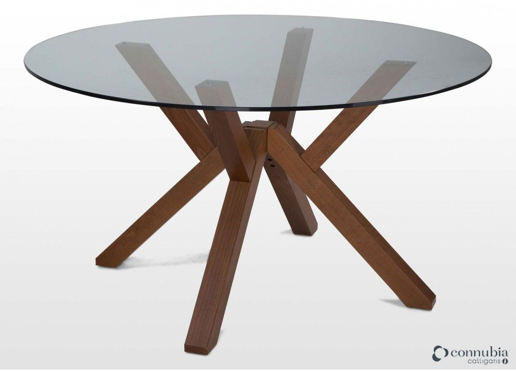 Contemporary Round Glass Walnut Dining Table Mikado Dining