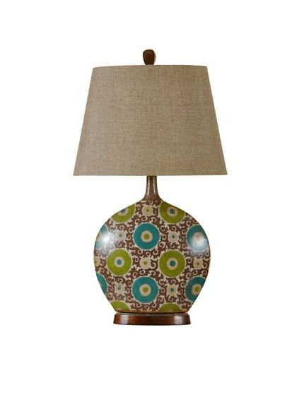 "StyleCraft Aboriginal Art-Inspired Ceramic Table Lamp, Urban Suzanne, http://www.myhabit.com; height 31"", width 17"", depth 11""; $95"