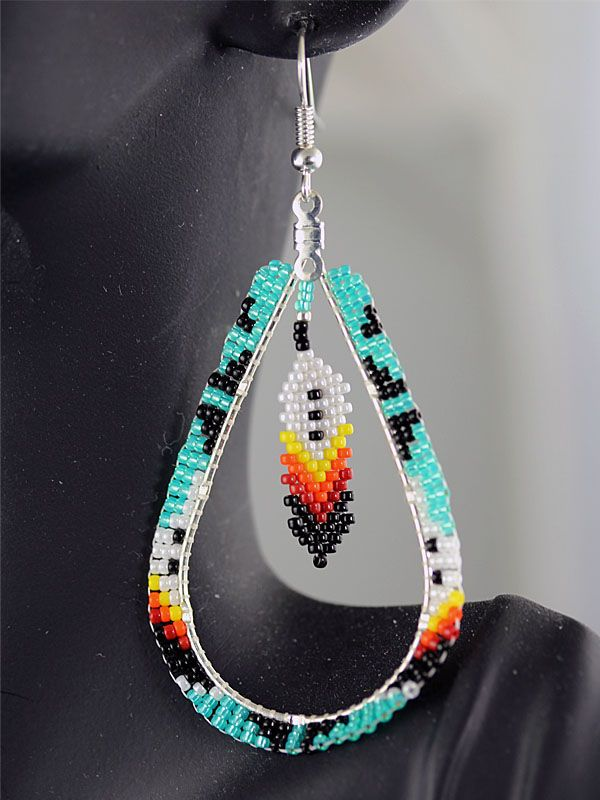 Native American Beaded Feather Earrings Google Search