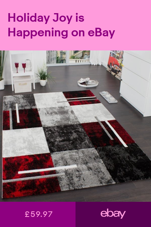 Red and Black Rug Thick Check Carpet for Bedroom Living