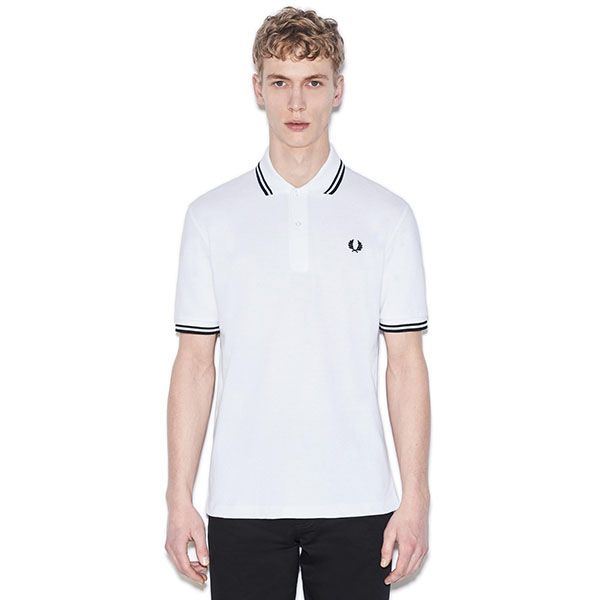 Fred Perry Laurel Collection Twin Tipped Polo Shirt- WHITE / BLACK (Made In  England