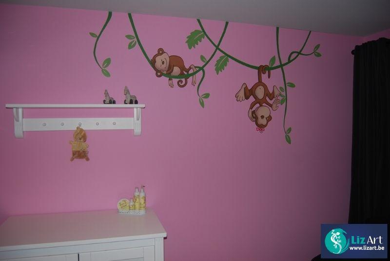 Muurschildering apen die aan lianen hangen muurschilderingen kinderkamers van eigen ontwerp - Ontwerp muurschildering ...