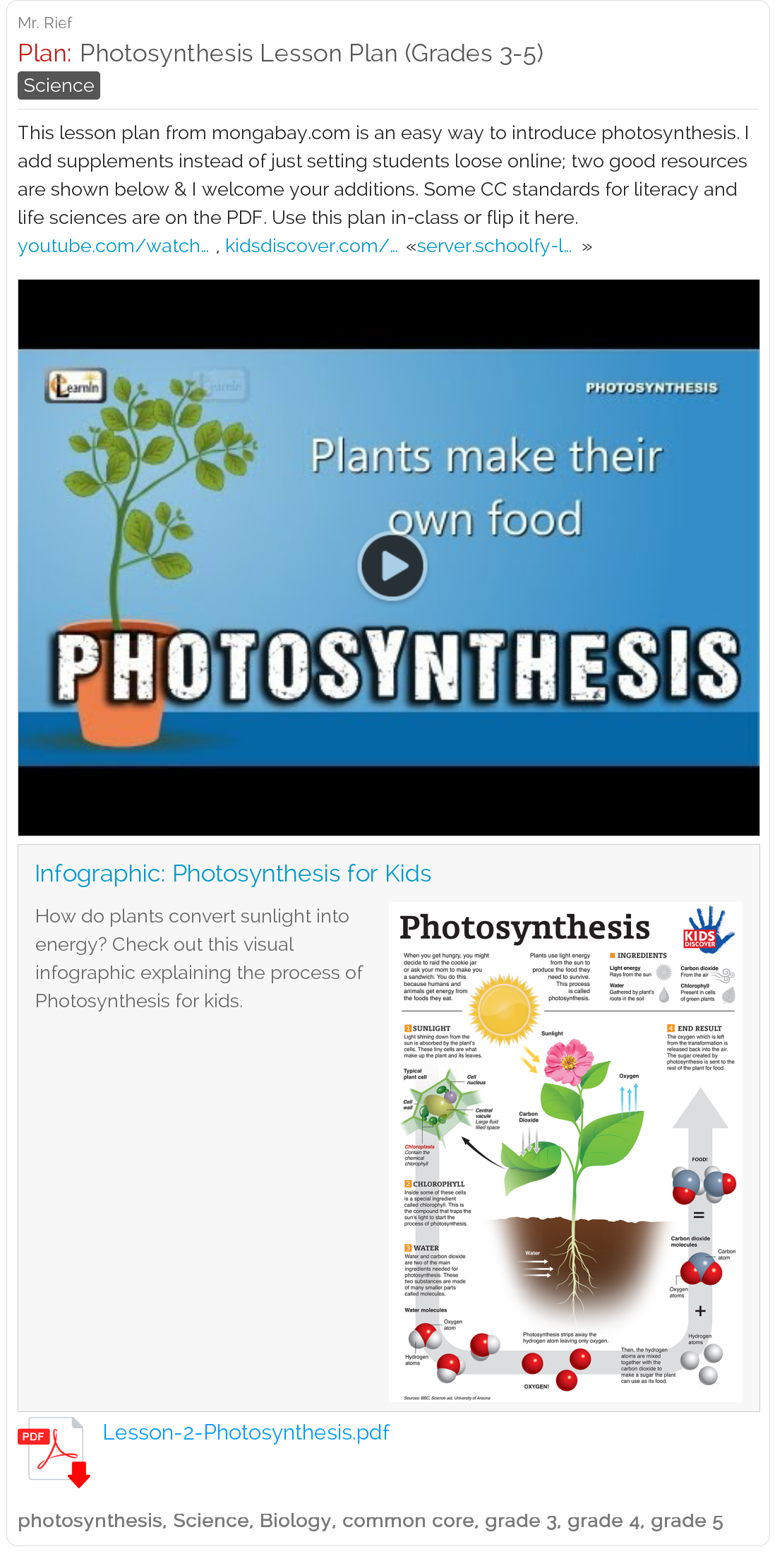 Free Photosynthesis Lesson Plan (Grades 3, 4, 5) Video