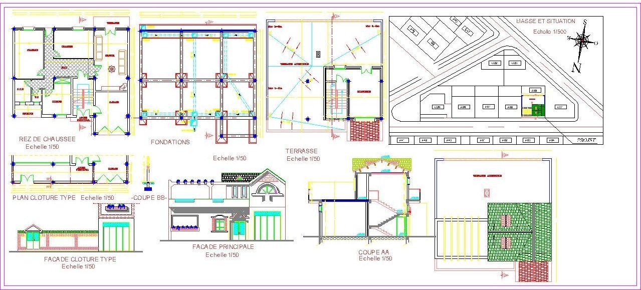 Connu Plan Autocad d'une petite villa dwg | AutoCAD, Villas and Architecture AM41