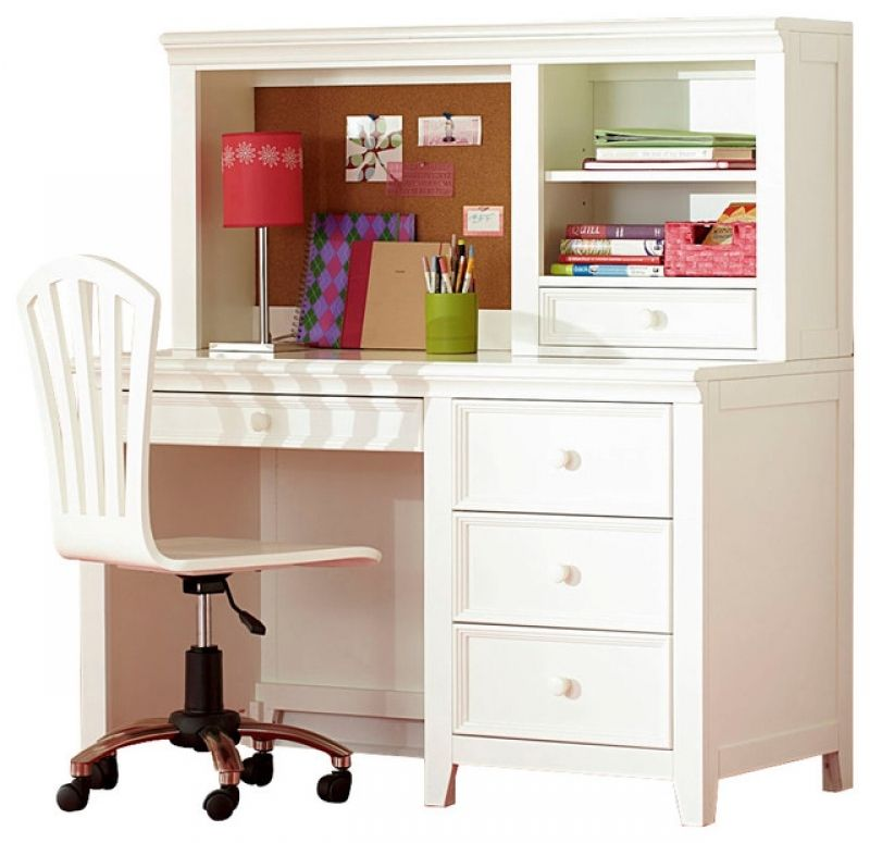 White Desk With Hutch For Latest Lea Willow Run 4 Drawer Desk With
