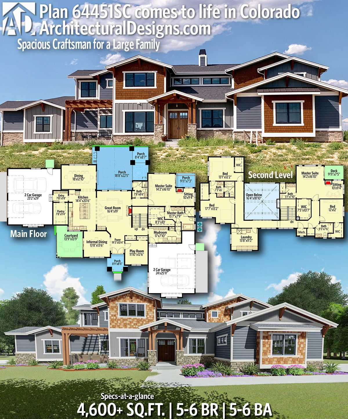 Plan 64451sc Spacious Craftsman For A Large Family Craftsman House Plans House Plans House Blueprints