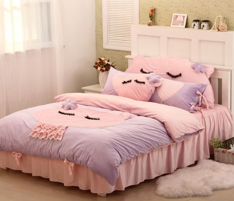 Cute Kitty Purple Princess Bedding Girls Bedding Women Bedding