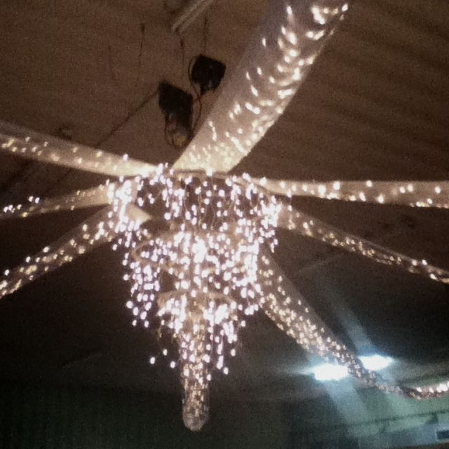 Wedding decoration made from hula hoops and Christmas lights