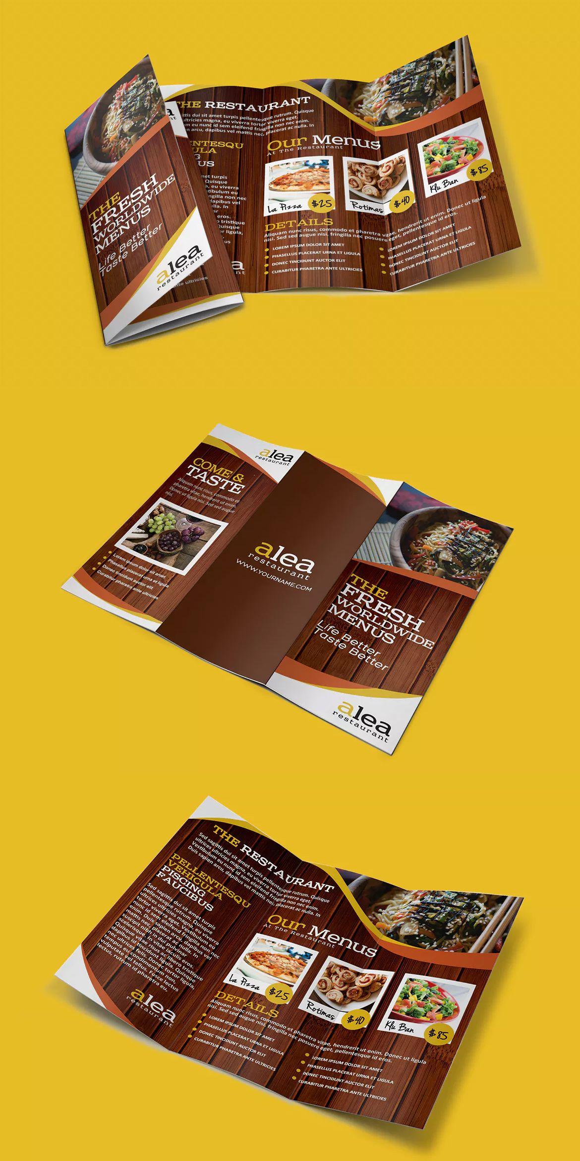 Alea Restaurant Trifold Brochure Template Psd Brochure Templates