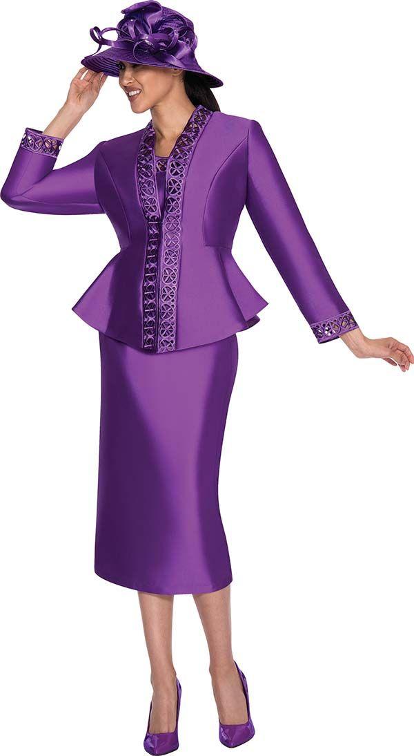Gmi G5343 Purple Womens Laser Cut Trim Skirt Suit Dressy Clothes