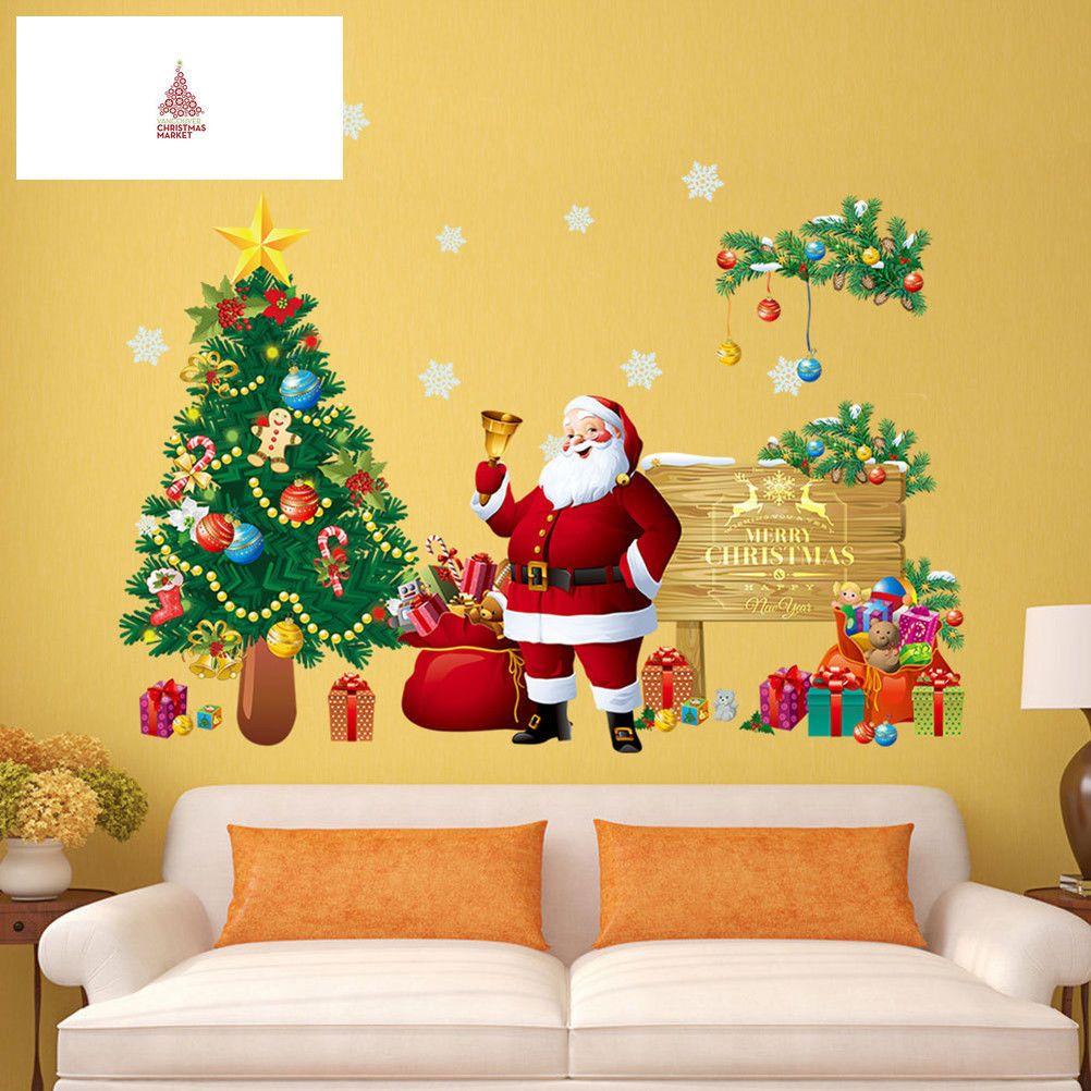 Merry Christmas Wall Decal Santa Claus Xmas Tree Wall Stickers PVC ...