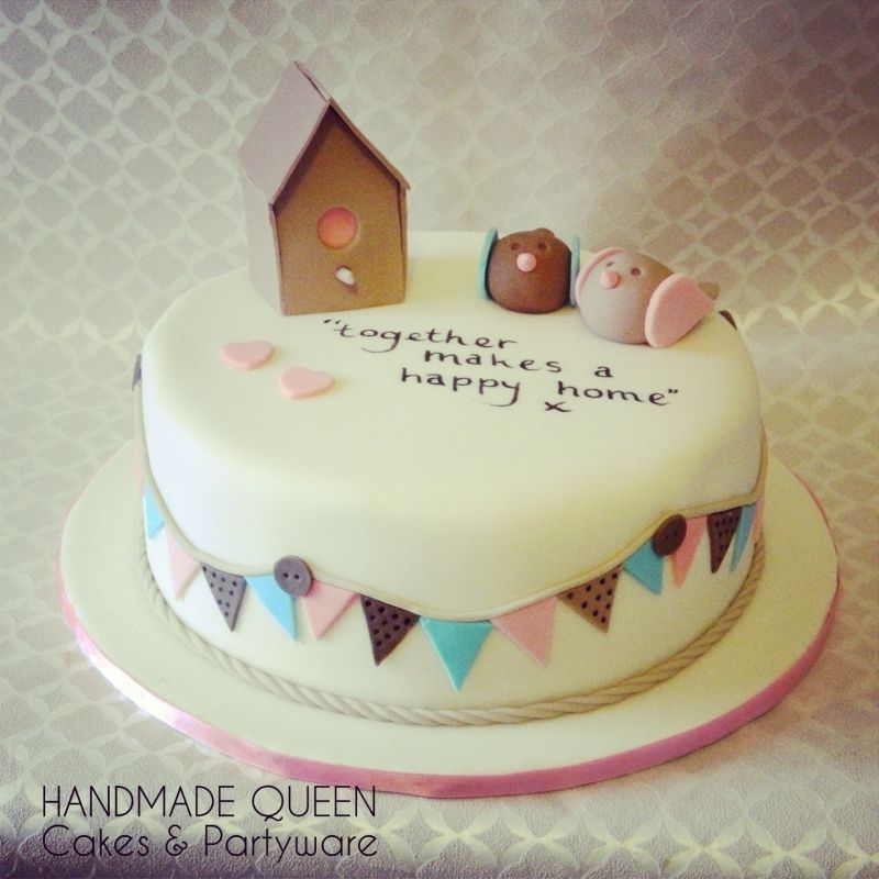 Home Cake Decorating: Love Birds New Home Cake With Handwritten Message