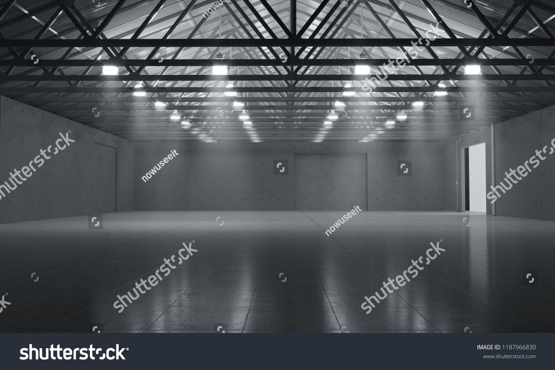 Warehouse empty dark car showroom 3D rendering darkempty
