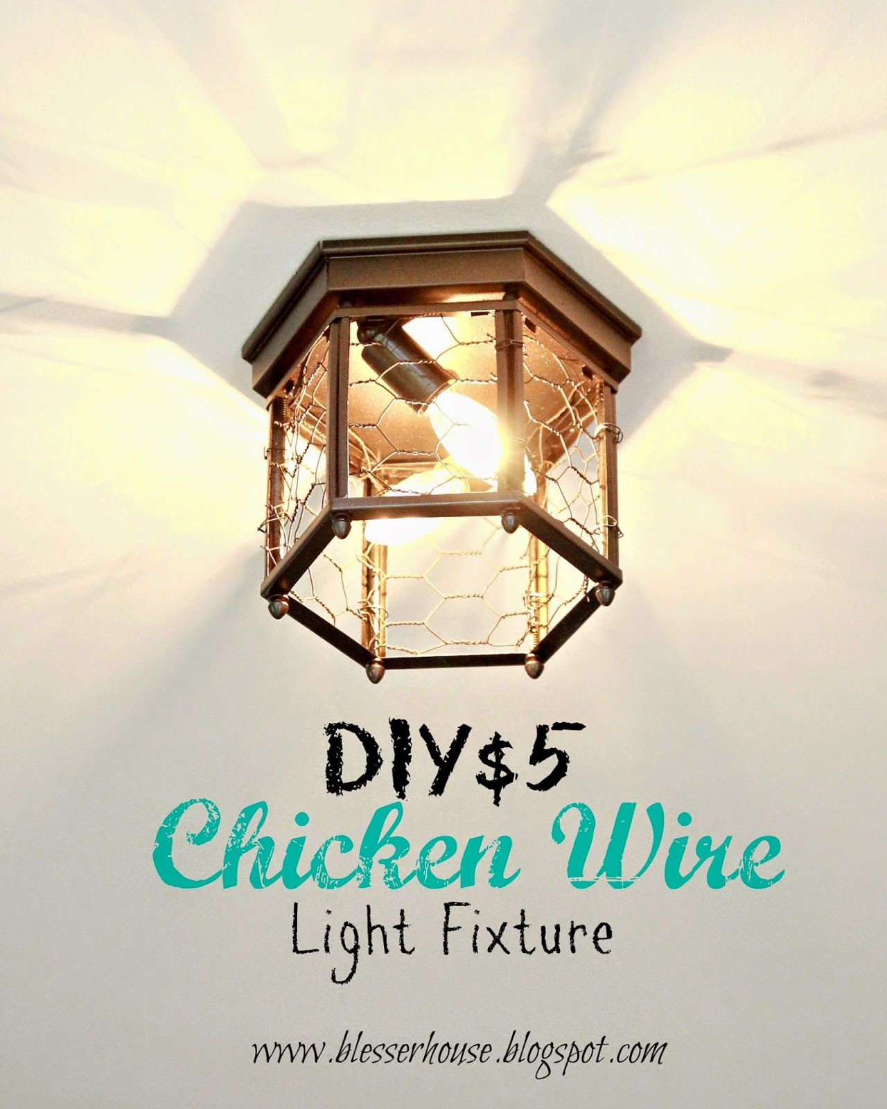 Thrifted Chicken Wire Light Fixture | Chicken wire, Lights and House