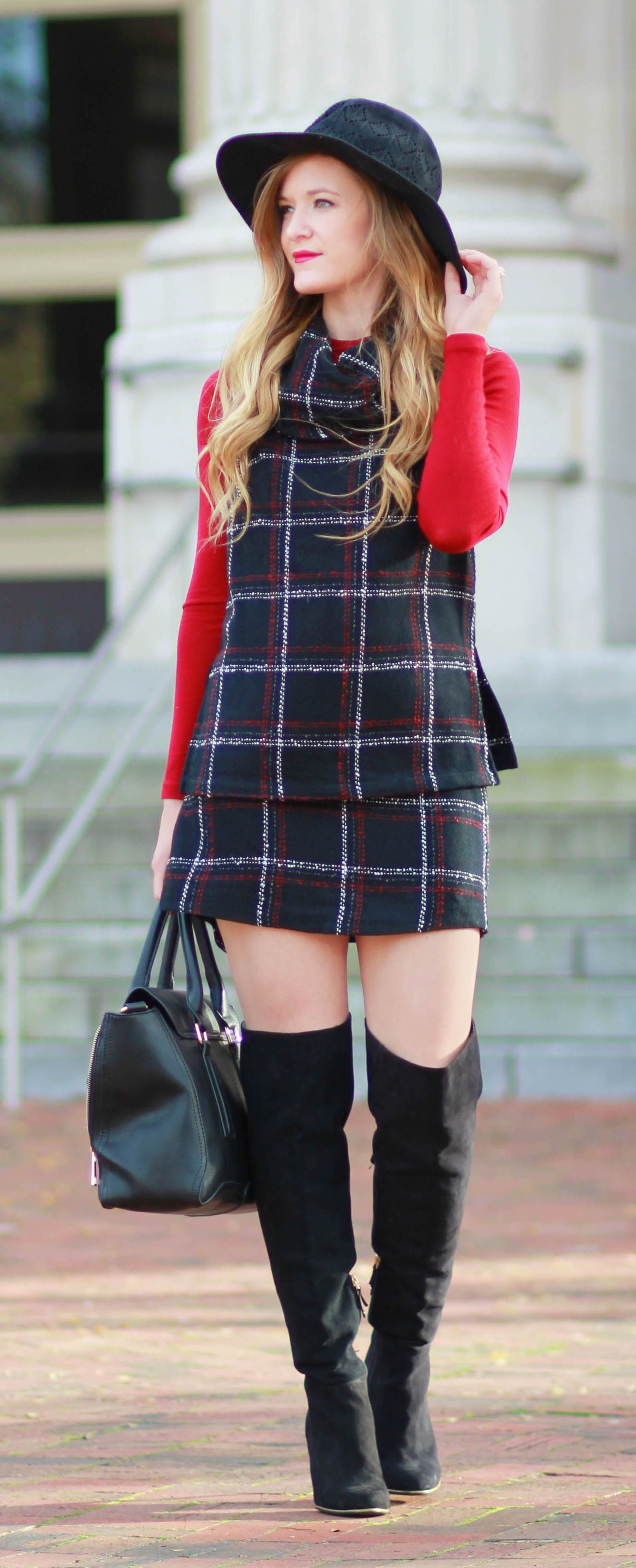 Tweed set and over the knee boots