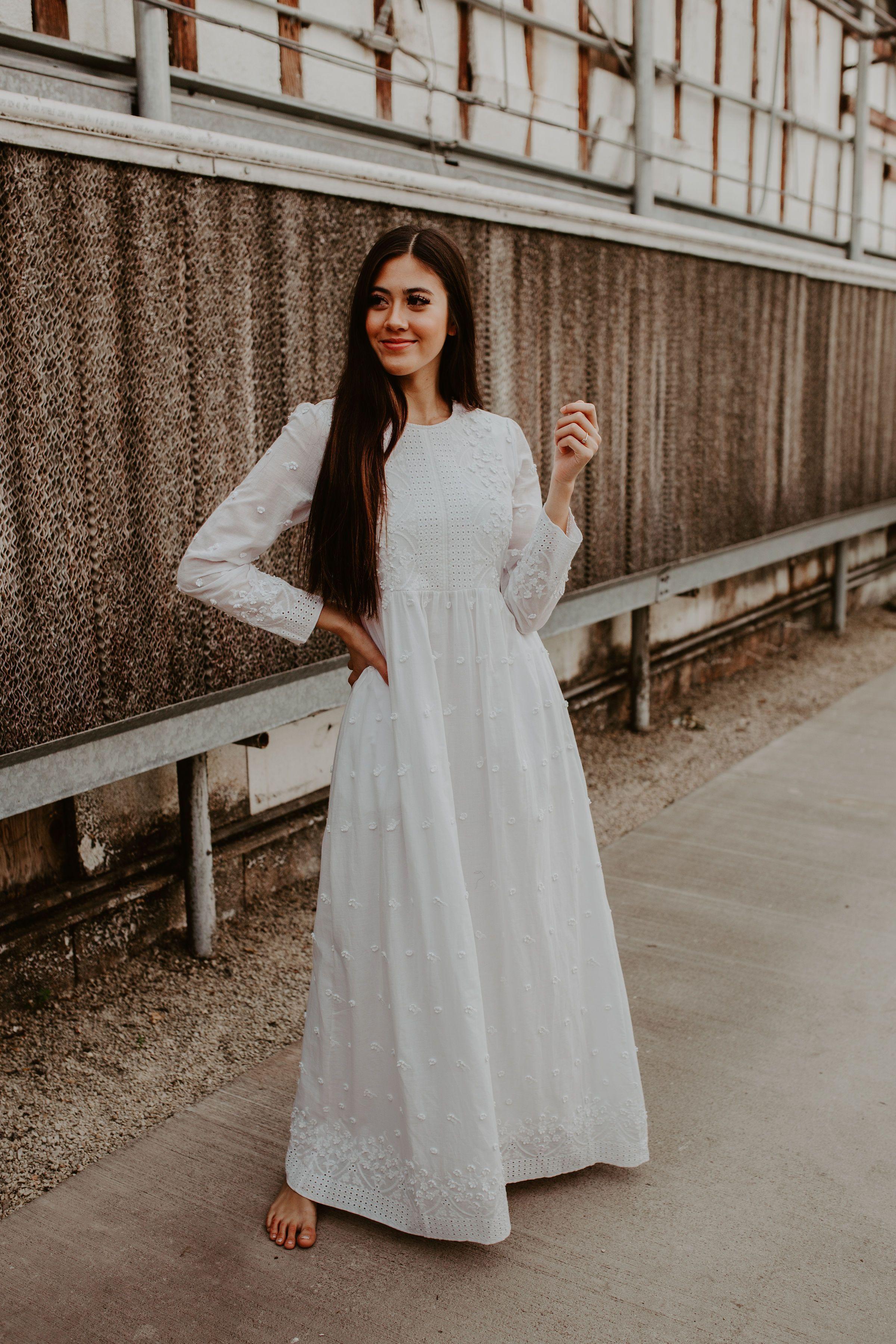 The White Ava White Long Sleeve Dress Temple Dress Dresses For Sale [ 3600 x 2400 Pixel ]