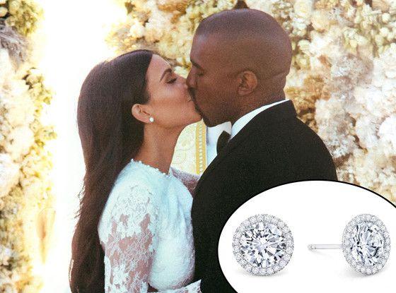 Kim Kardashians Diamond Wedding Earrings Were A Gift From Kanye West