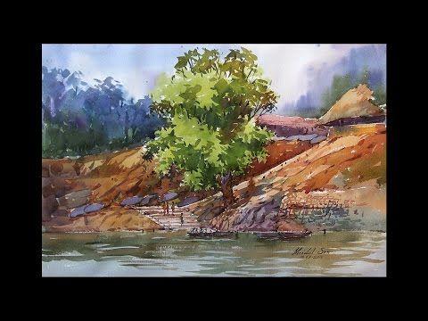 Watercolor Landscape Tutorial How To Paint A Watercolor Landscape By Mridul Sen From India Youtube Arboles