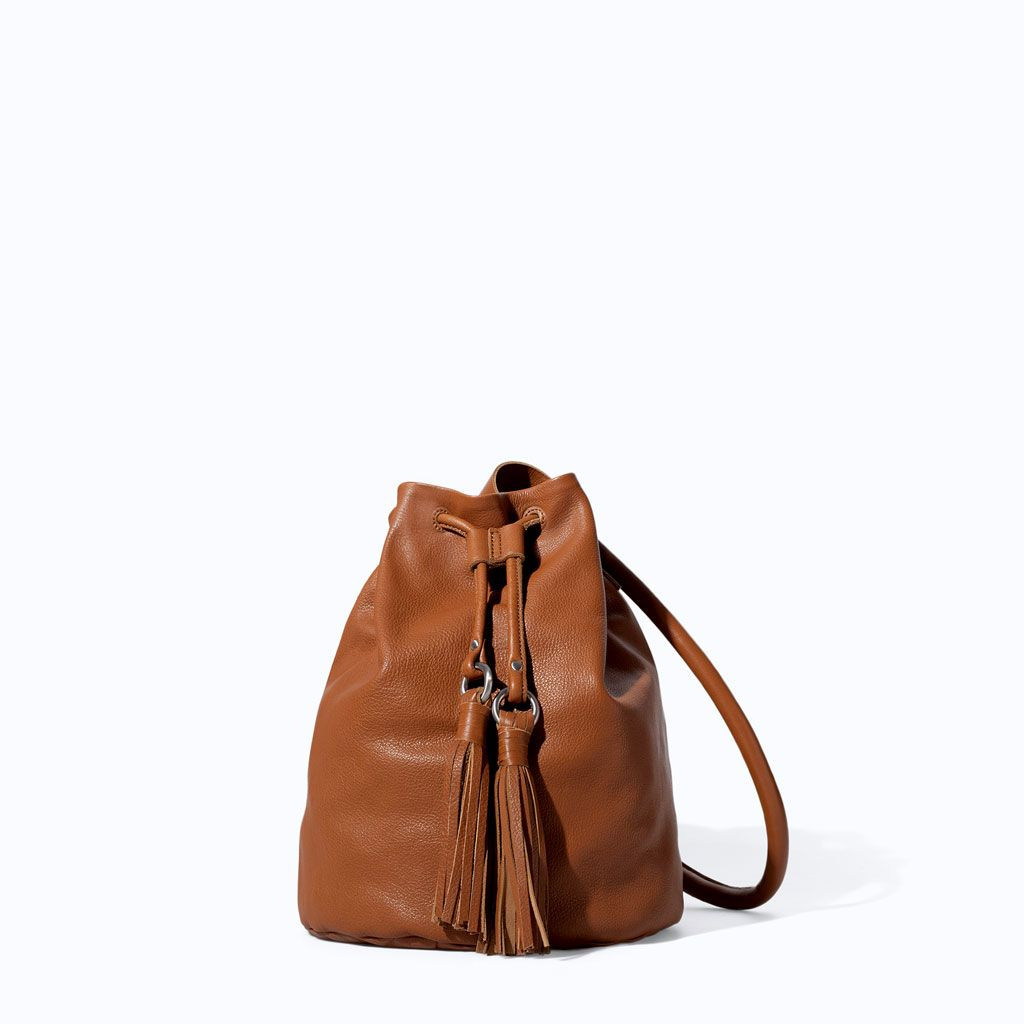 39882592a ZARA - TRF - LEATHER BUCKET BAG WITH TASSELS | bags | Pinterest ...