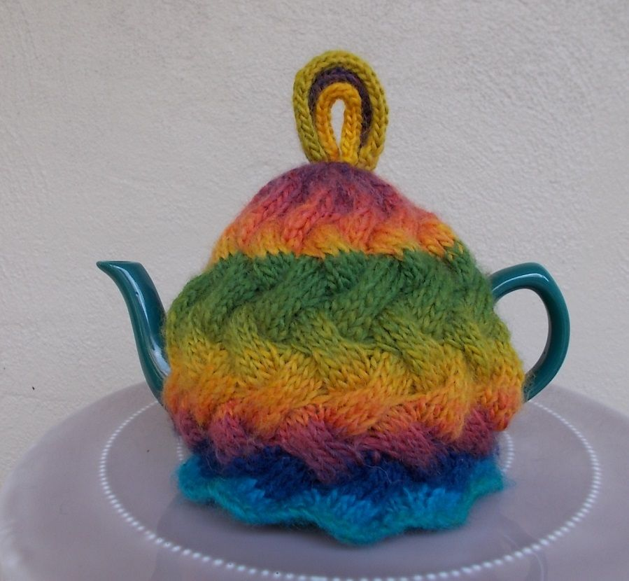My knitted Rainbow Tea Cosy. Love the colours. | Knitting | Pinterest