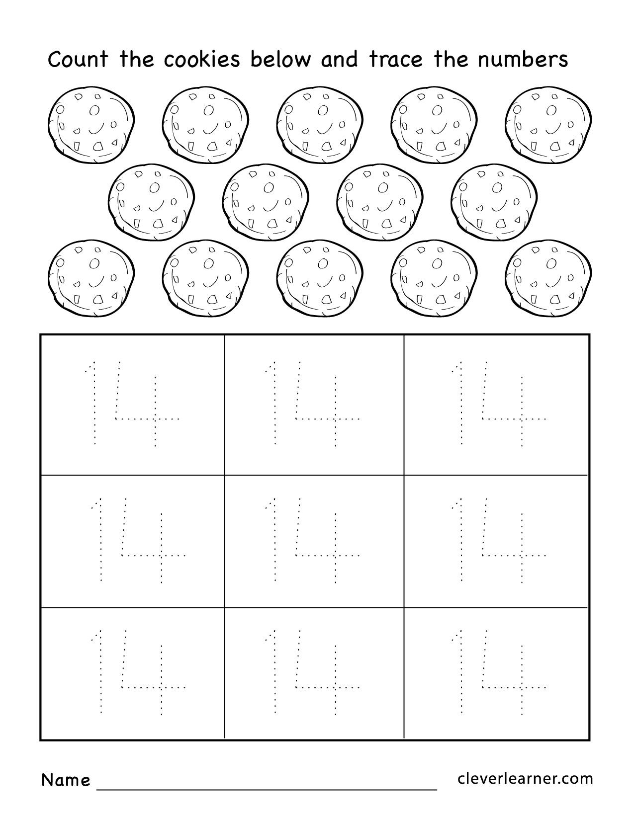 Number 14 Worksheets For Preschool Children 04 1 275