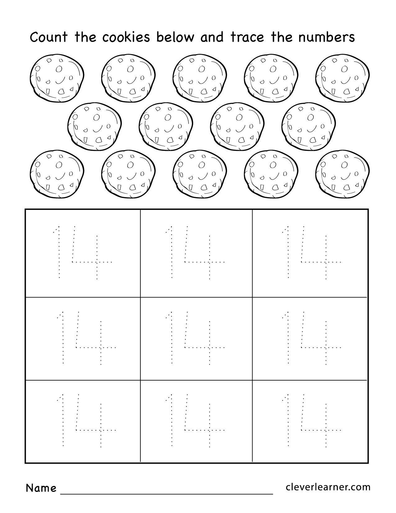 Number 14 Worksheets For Preschool Children 04 1 275