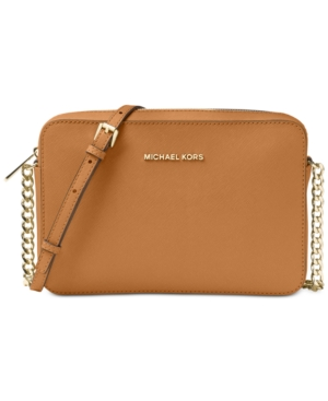 734f913e5a882 Michael Michael Kors Jet Set East West Crossgrain Leather Crossbody - Brown
