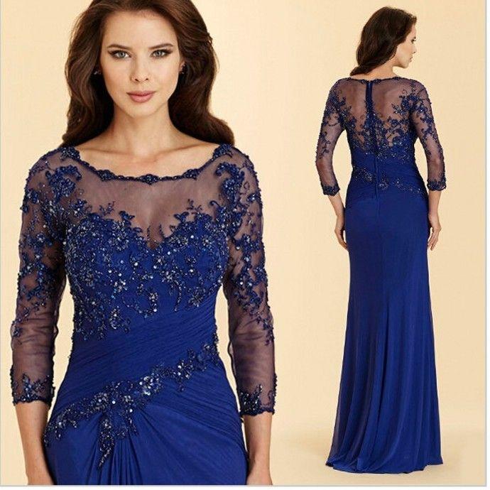 Long Sleeve Royal Blue Mother Of The Bride Chiffon Dresses Floor Length Vestido De Madrinha Mother Of The Groom Dresses #groomdress