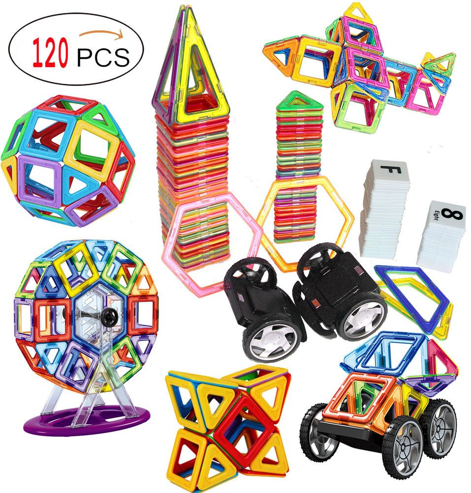 120 Piece Magnetic Tiles Magnetic Building Blocks Toys For Kids Magnetic Building Blocks Building Toys Magnetic Tiles