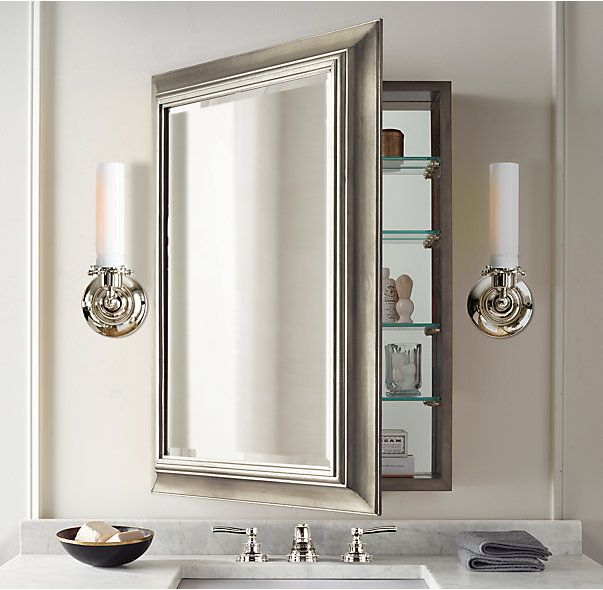 About 900 each large recessed box 22 1 4 w x 4 1 2 d x 32 1 2 h english aged nickel for Bathroom mirror cupboard