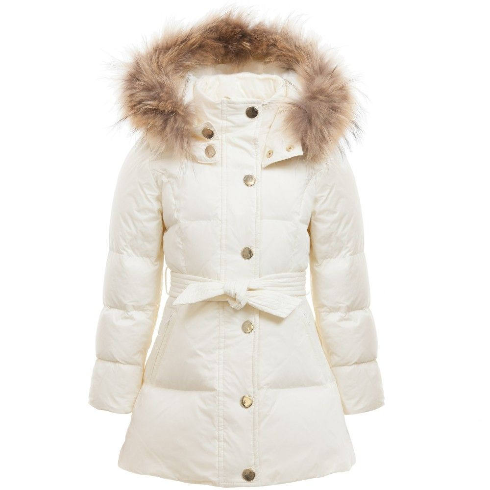 Girls Ivory Down Padded Puffer Coat with Fur , Trussardi, Girl ...