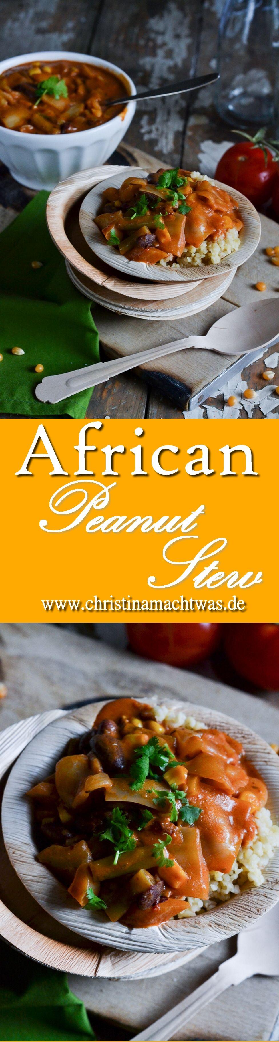 Ein leckerer Eintopf mit afrikanischem Einschlag - viel gesundes Gemüse, Erdnussbutter & Bulgur als Beilage. Vegan! ---  A vegan african-inspired Stew with lots of yummy Veggies and Peanut flavor.
