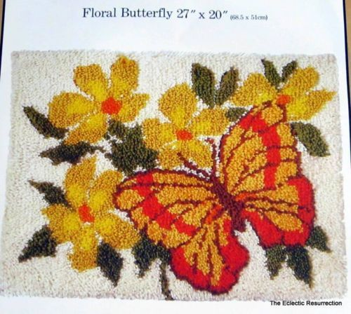 "Vintage 1970s Latch Hook Rug Kit Floral Butterfly by Caron 27"" x 20"" New in Pkg 