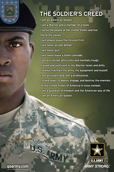 what the soldier creed means to me What the nco creed means to me a paper written for the georgia state defense force's basic leader's course, 2017—01 at the clay national guard training center in marietta, georgia on 23-25 june 2017 by specialist caverly, matthew m, gsdf # cav6232, squad leader, 1st squad, 1st platoon.