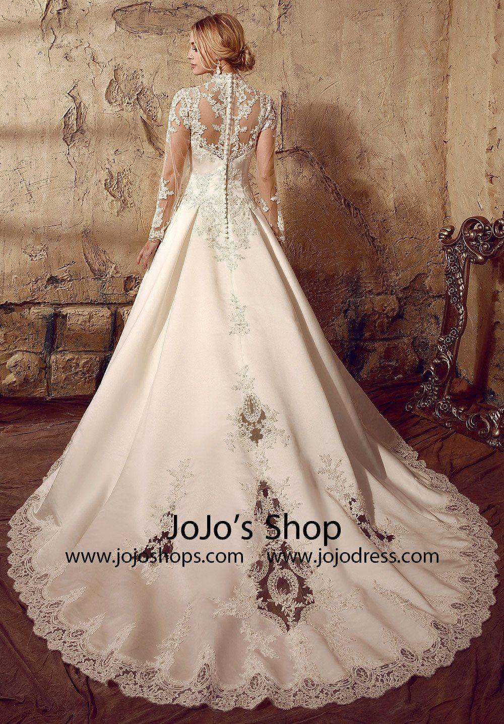 Modest long sleeve lace wedding dresses  Long Sleeves Victorian Style Modest Lace Wedding Dress  Lace ball