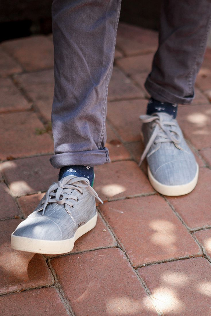 One step at a time in TOMS Grey Denim