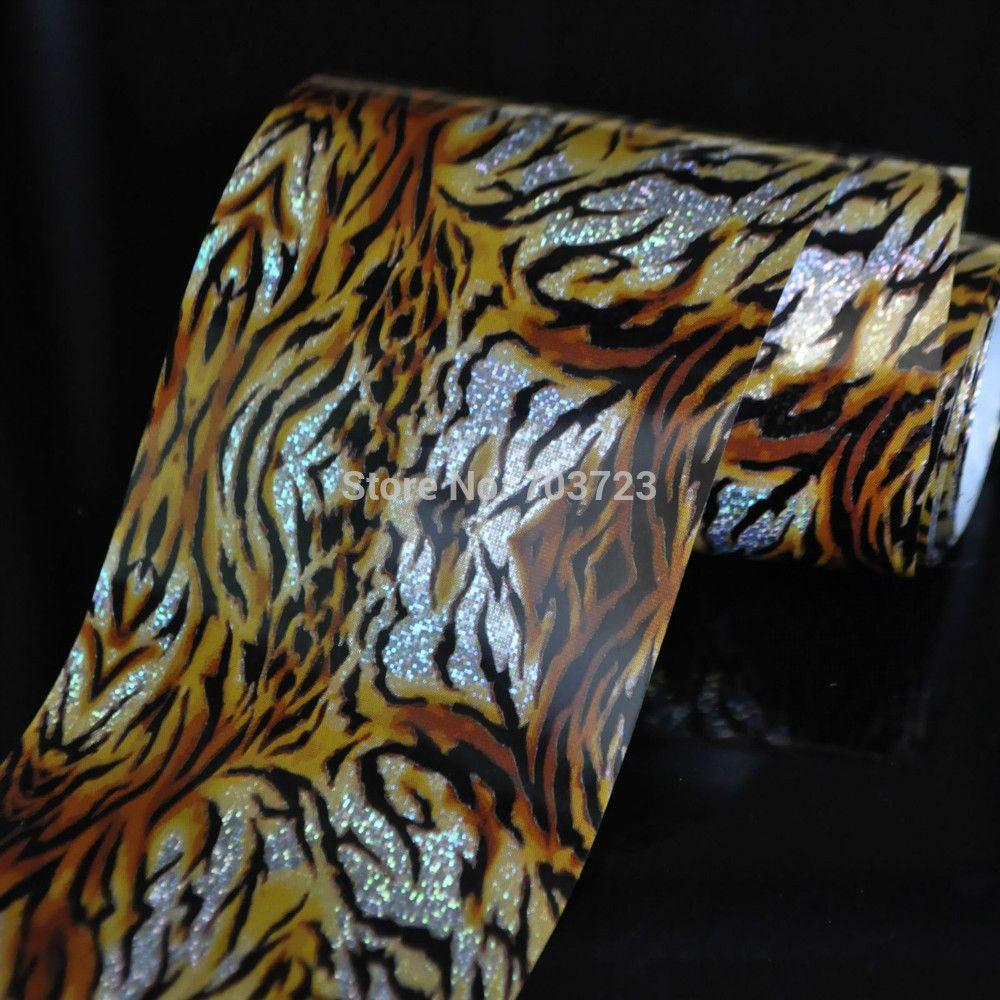 Rotolo Pelliccia di Tigre di Modo Della Signora all'ingrosso Arte Colla Del Chiodo Trasferisca Stagnola Consigli Toes Decor Sticker GL12