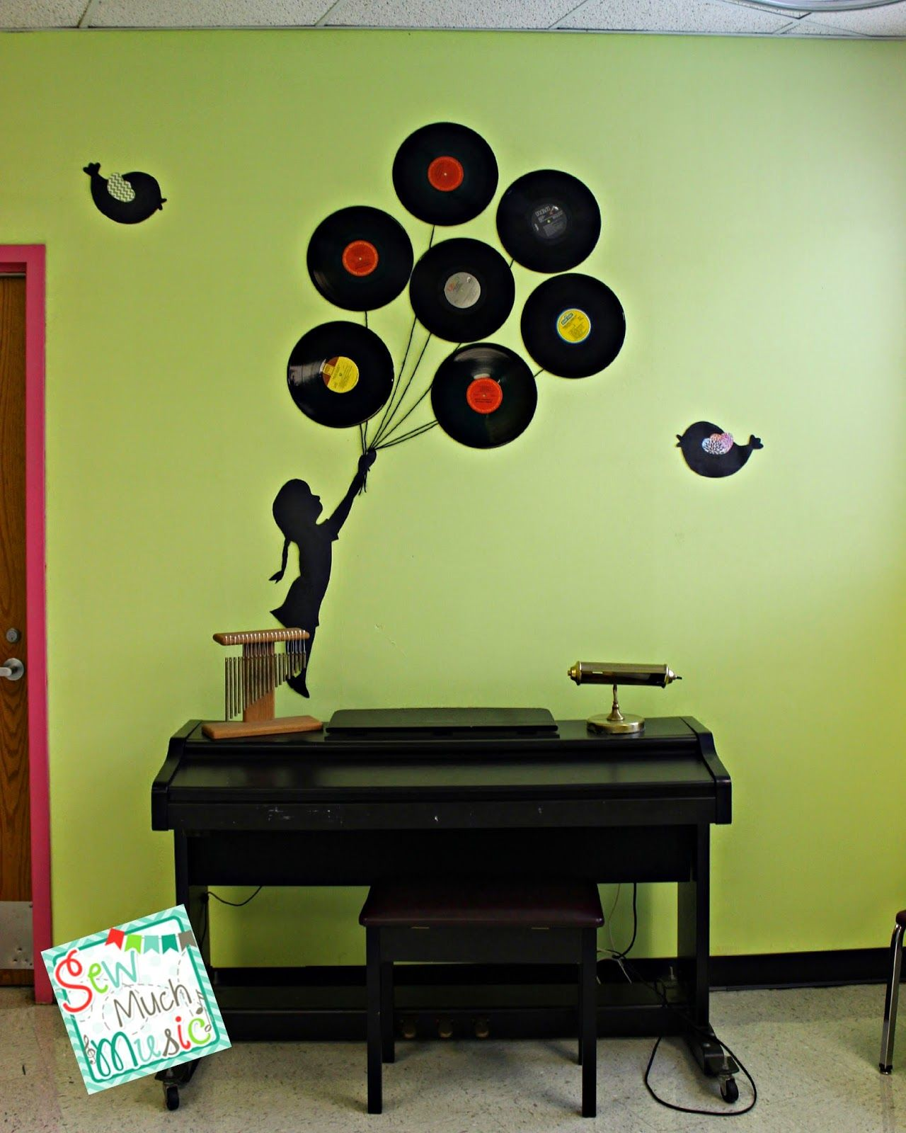 Music Classroom Design ~ Sew much music balloon girl silhouette in a