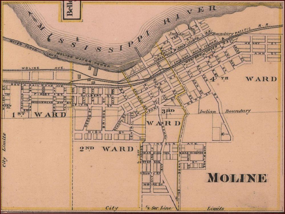 Moline Illinois Antique City Map Matted Original 1876 Antique