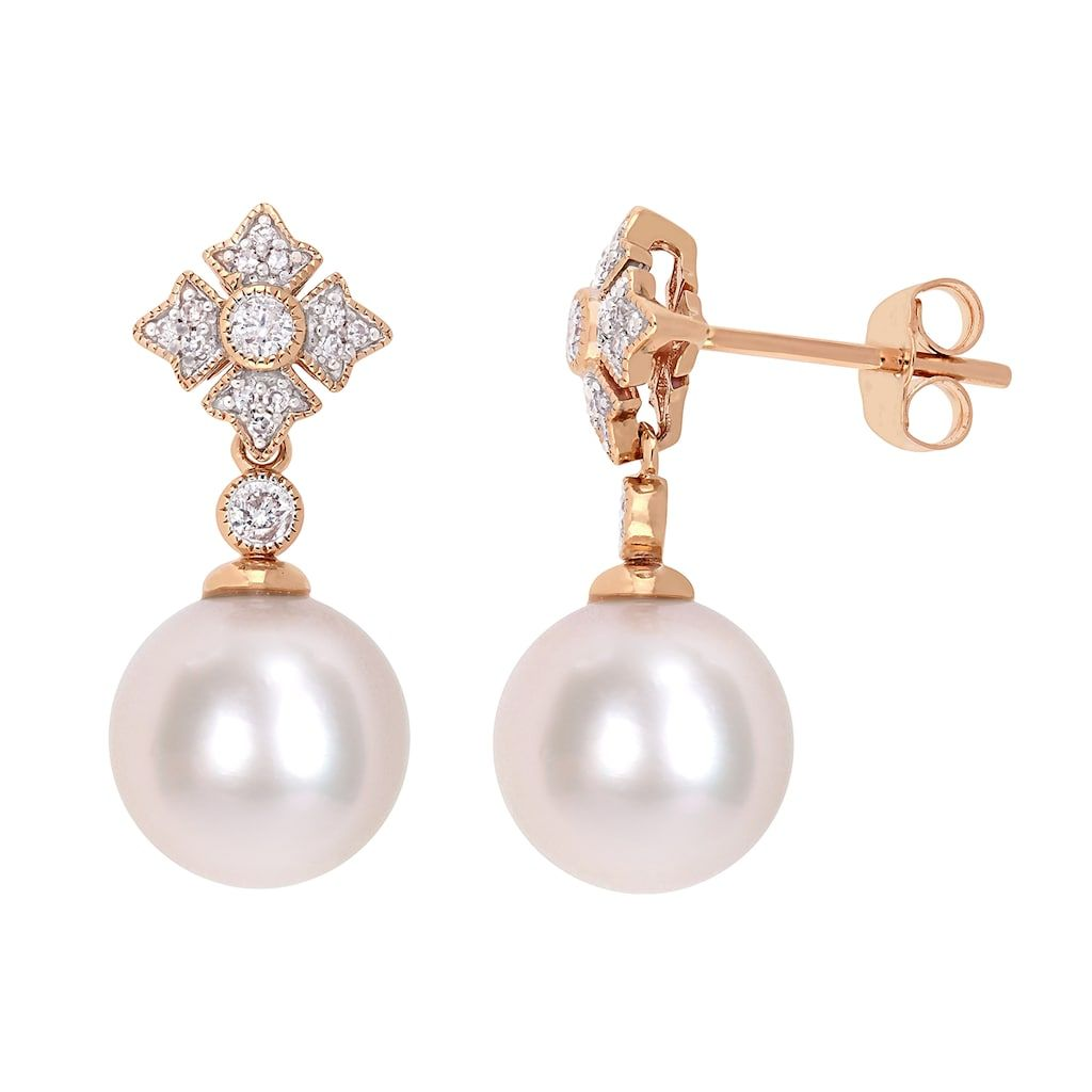Stella White Freshwater Pearl Necklace and Earring Set with cubic zirconia stones AAA