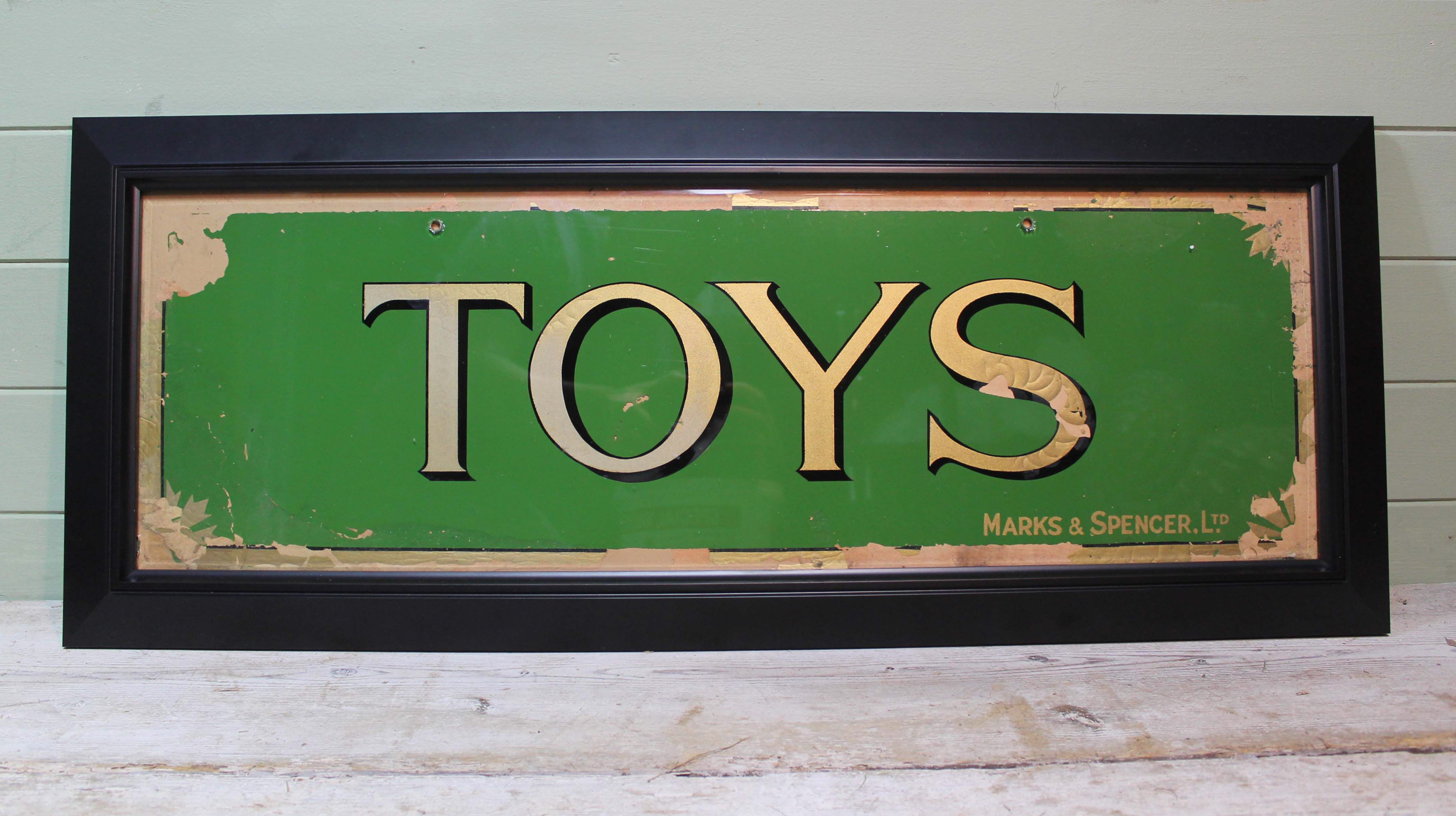 Original 1930s glass shop sign Marks and Spencer - just in at www.robhallantiques.co.uk