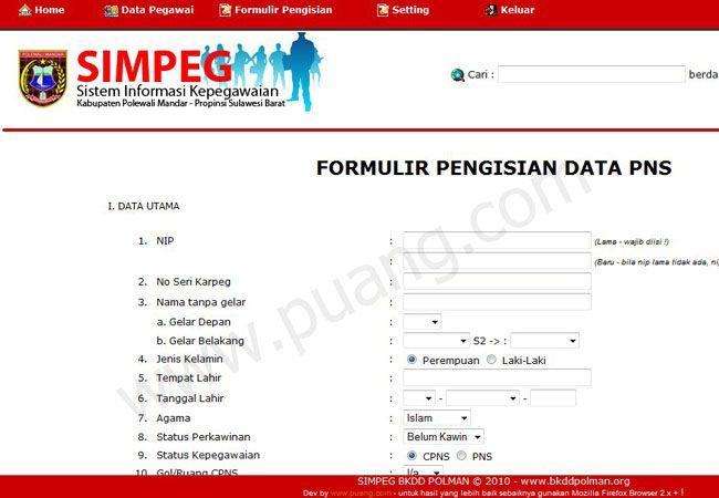 Simpeg Puangdotcom Sistem Informasi Manajemen Nama Aplikasi