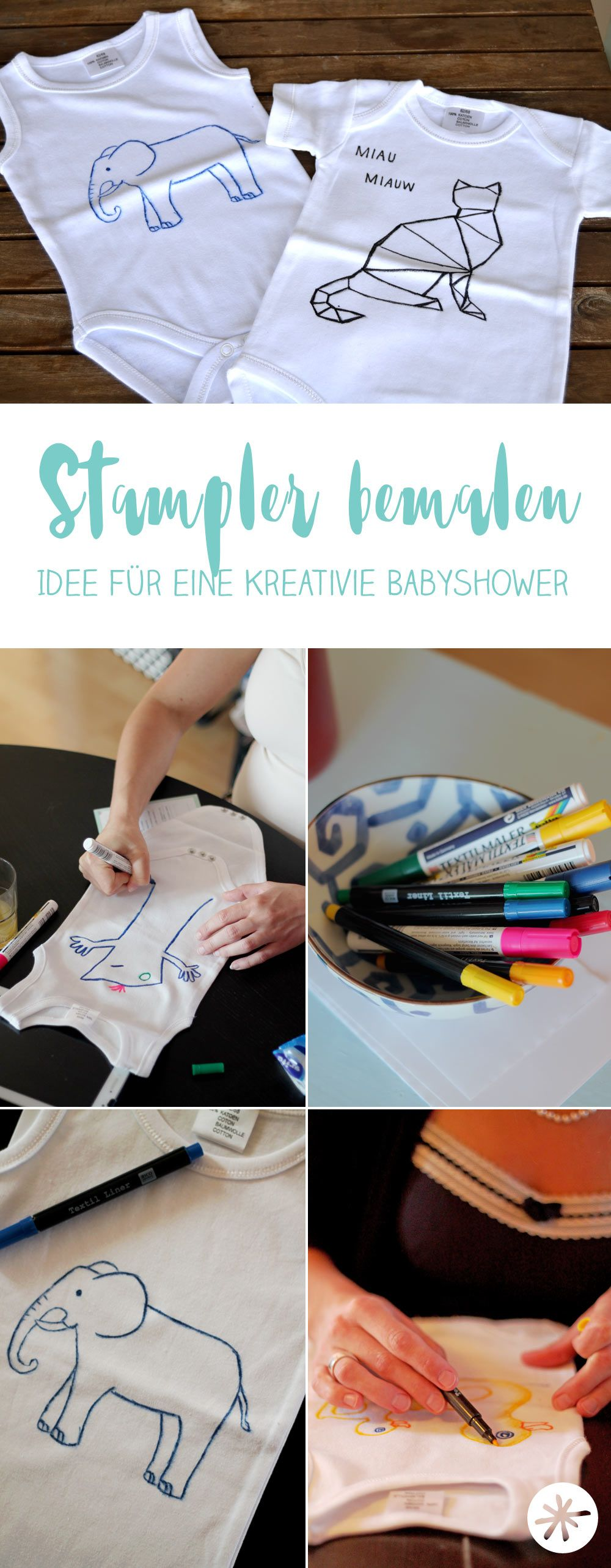 babyshower diy strampler bemalen diy geschenkideen pinterest party babyparty und. Black Bedroom Furniture Sets. Home Design Ideas