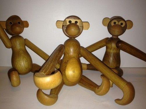 Three Vintage Kay Bojesen Style Danish Modern Zoo Line Mid Century Teak Monkeys | eBay