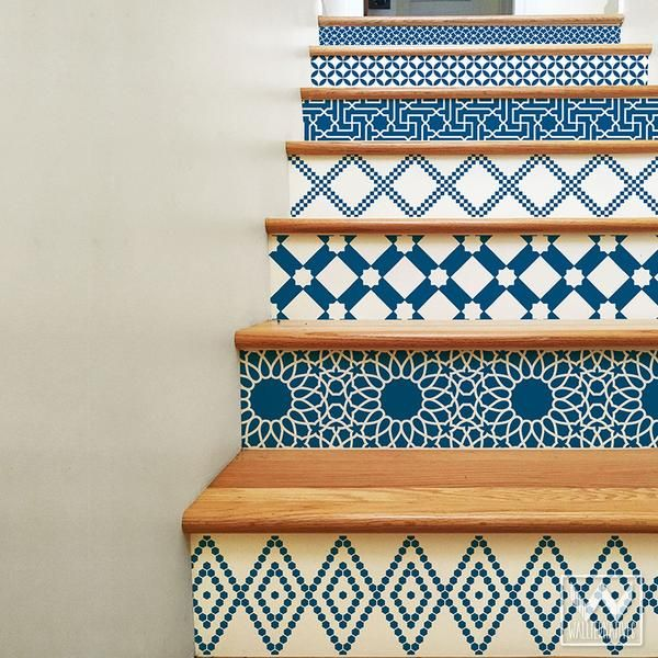 Moroccan Stair Riser Decals - Blue images