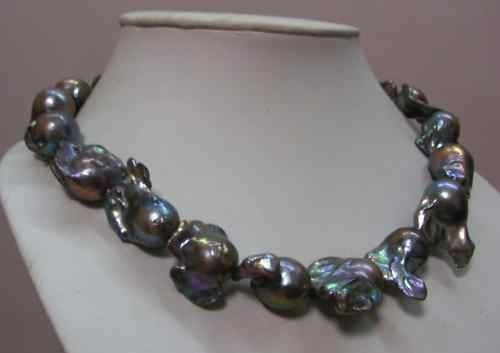 """H 18""""28 30mm Natural Australian South Sea Genuine Black Nuclear Pearl Necklace   eBay"""