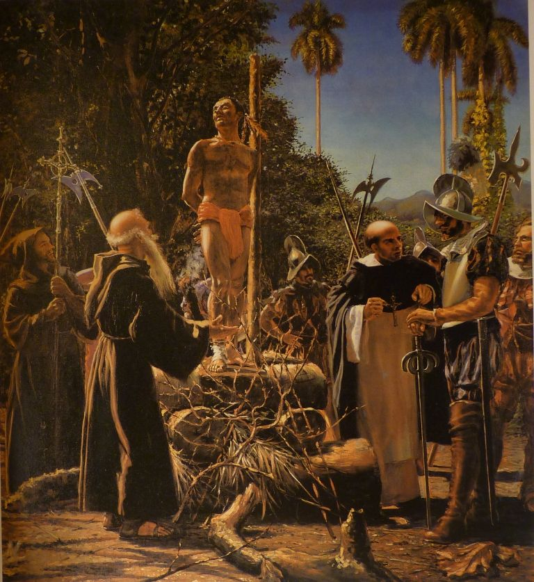 An oil pinting titled No quiero ir al cielo (I Don't Want to Go to Heaven) by Augusto Garcia Menocal during The Cuba Art and History from 1868 to Today exhibition