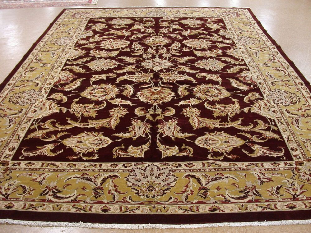 Persian Tabrizz Rug Hand Knotted Wool Maroon Gold Large New Oriental 11 X 17 Persian Persiantabrizzfloral восточные ковры ковры